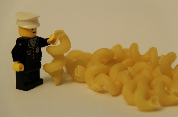 lego man and pasta