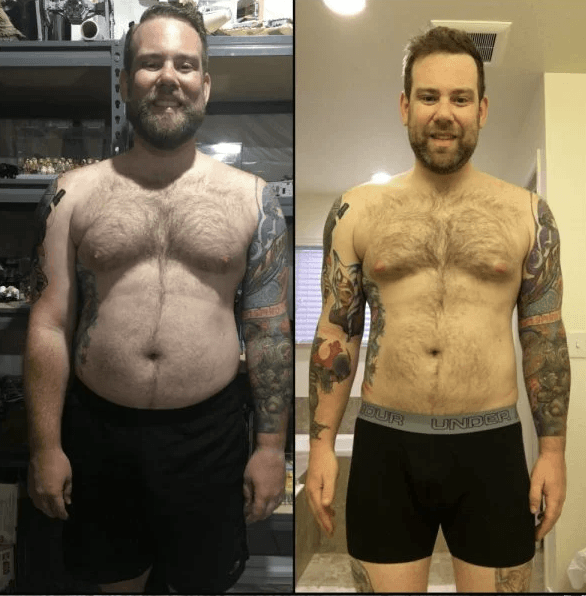 These pictures show Kyle's transformation, which was helped by his bike riding routine.