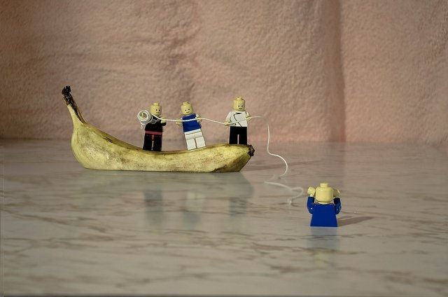 Banana boat rescuing a lego man