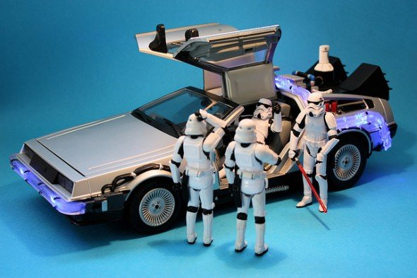 delorean and storm troopers