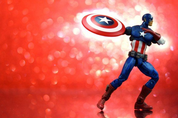 Captain America Throwing Shield and Getting Buff