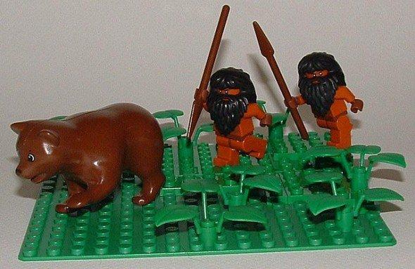 Two LEGO Cavemen hunt a bear, paleo style