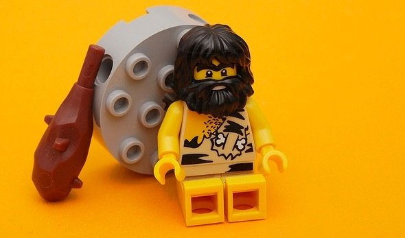 This LEGO caveman is taking a break from eating Paleo