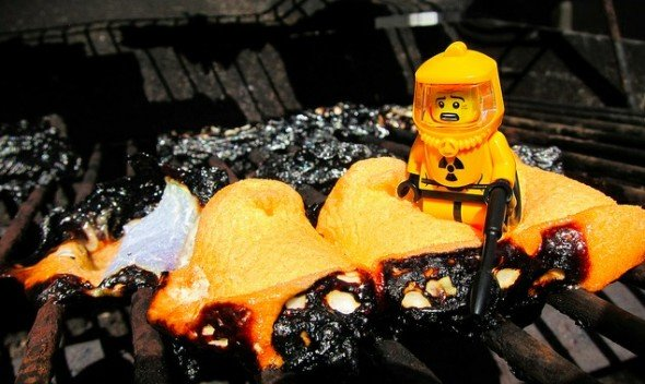 Melted peeps and lego man