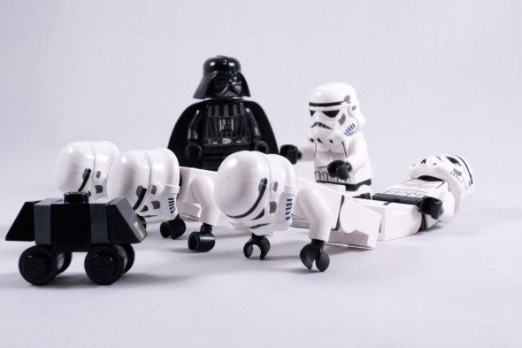 Storm Troopers workout with Darth Vader watching, small exercises