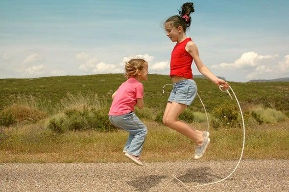Two Girls Playing Jump Rope, Exercising