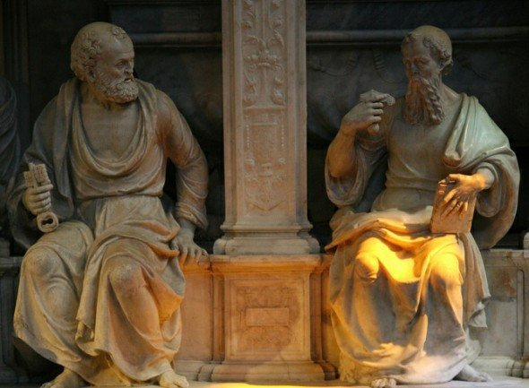 plato and socrates statues