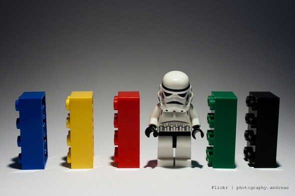 Small Legos around a small storm trooper