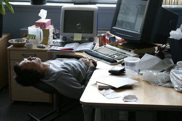 5 Ways to Instantly Become More Productive Nerd Fitness : asleep at desk 590x393 <strong>Leather Executive</strong> Office Desk Chairs from www.nerdfitness.com size 590 x 393 jpeg 57kB