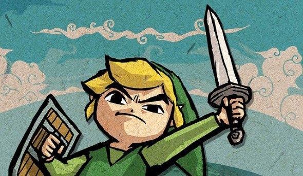 Zelda: Link raising sword in victory