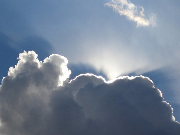Sun Breaking Through Clouds, showing silver lining