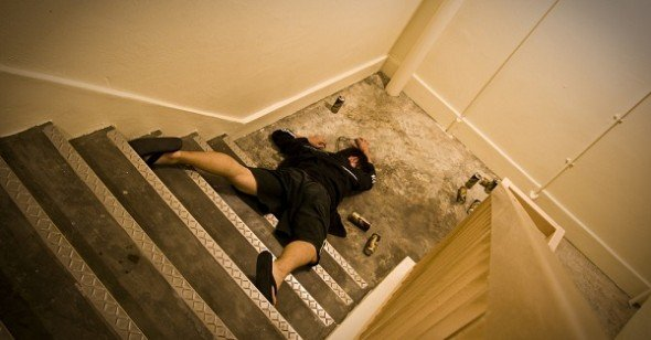 Passed out college student on stairs
