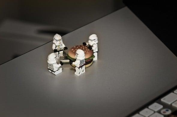 Legos surround cheeseburger
