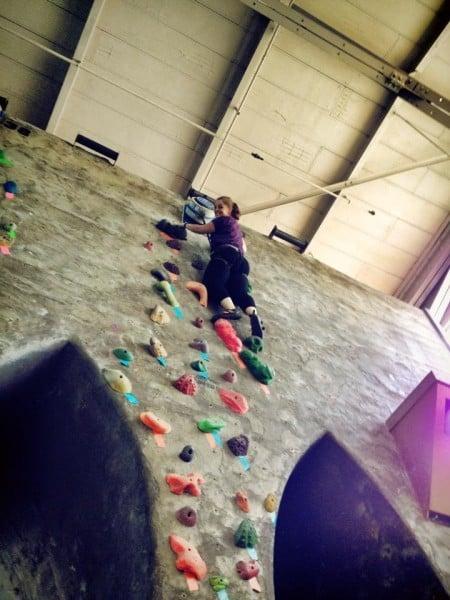 Anne climbing