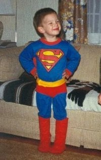 Steve dressed up as Superman.