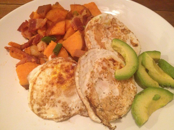 Sweet Potato Hash, Eggs, and Avocado