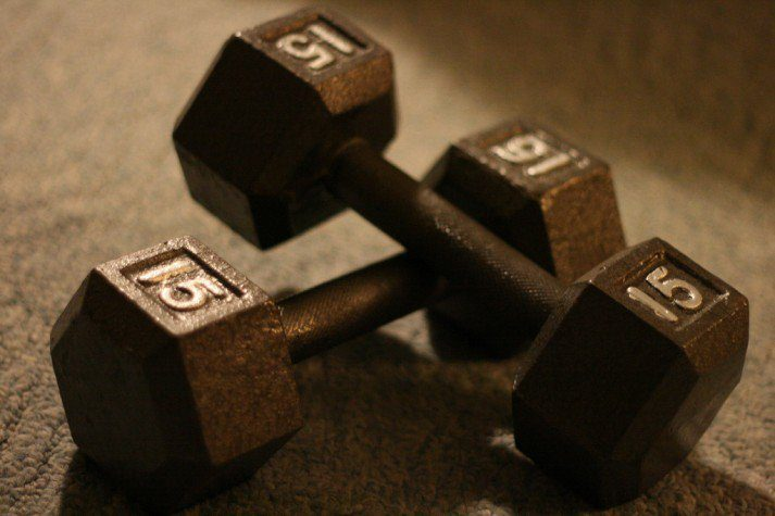 Strength training like with these dumbbells is key for a weight loss program.