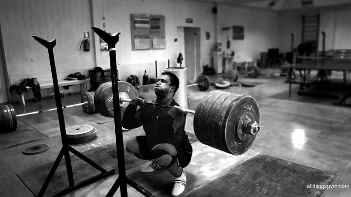 A man doing front squats