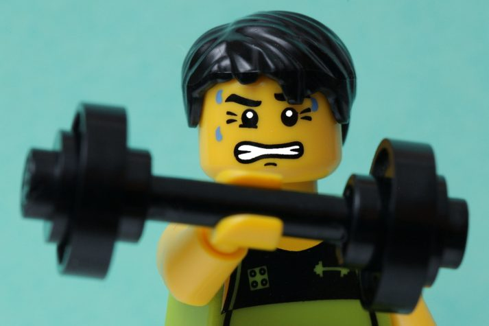 Is this LEGO lifting too much or too little for his strength training?