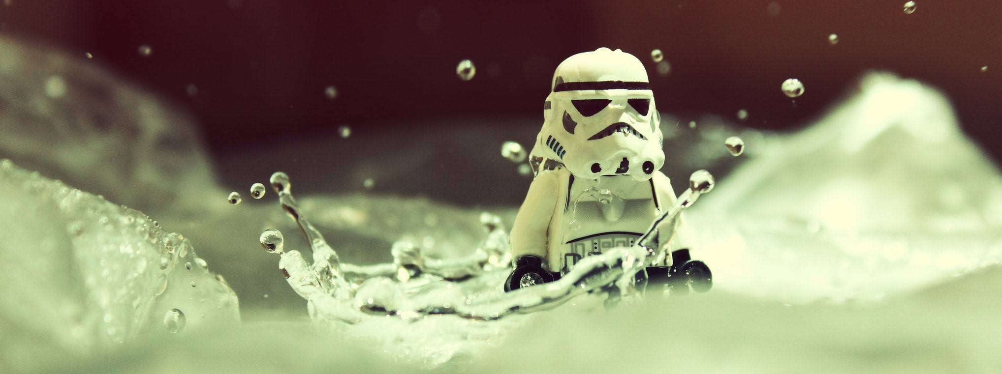 A Stormtrooper in water, which is way too much water for him to drink.