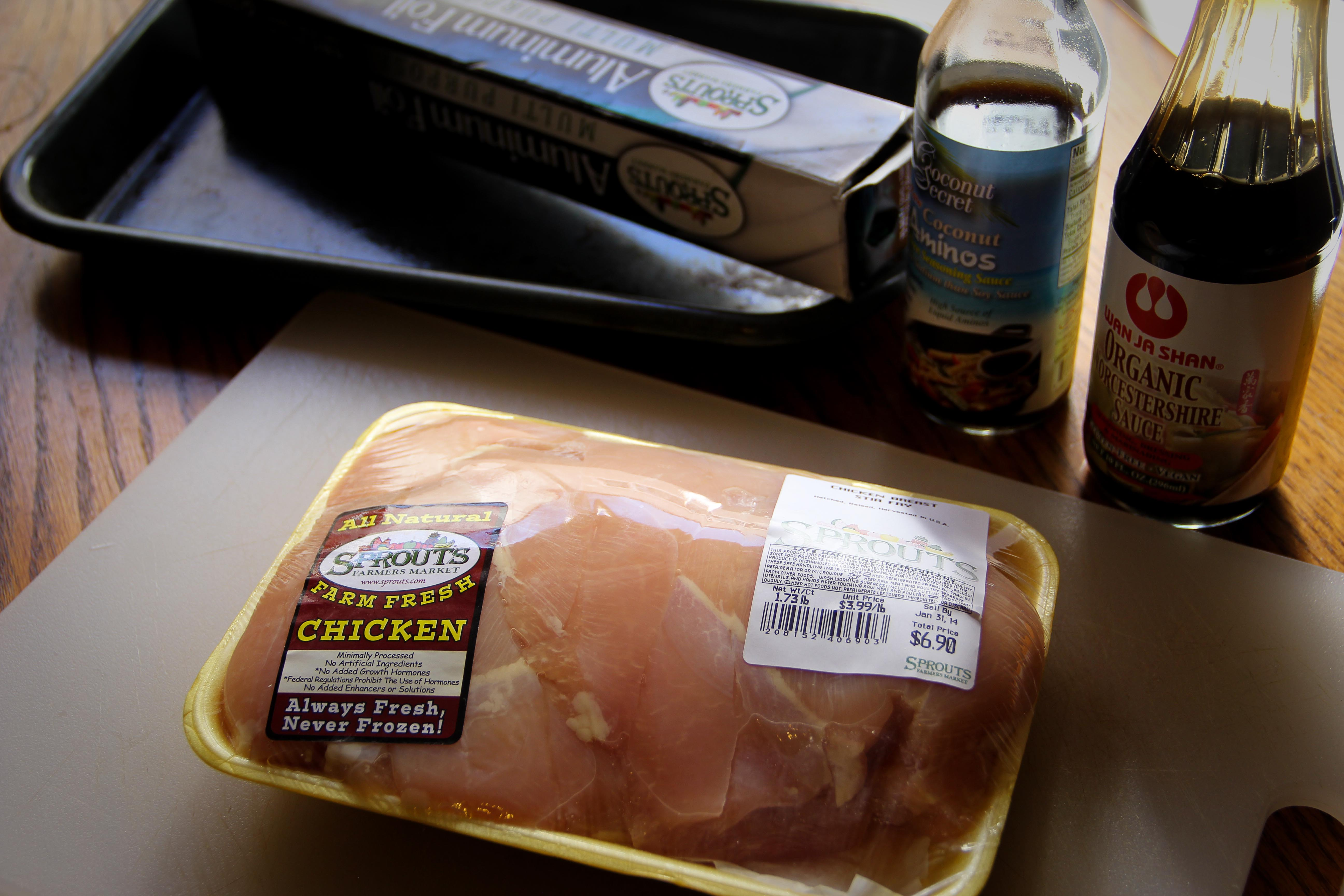 1 chicken breast – Hopefully the chicken is already defrosted. If not,  stick it in the microwave on low for a few seconds, then run it under water  until ...