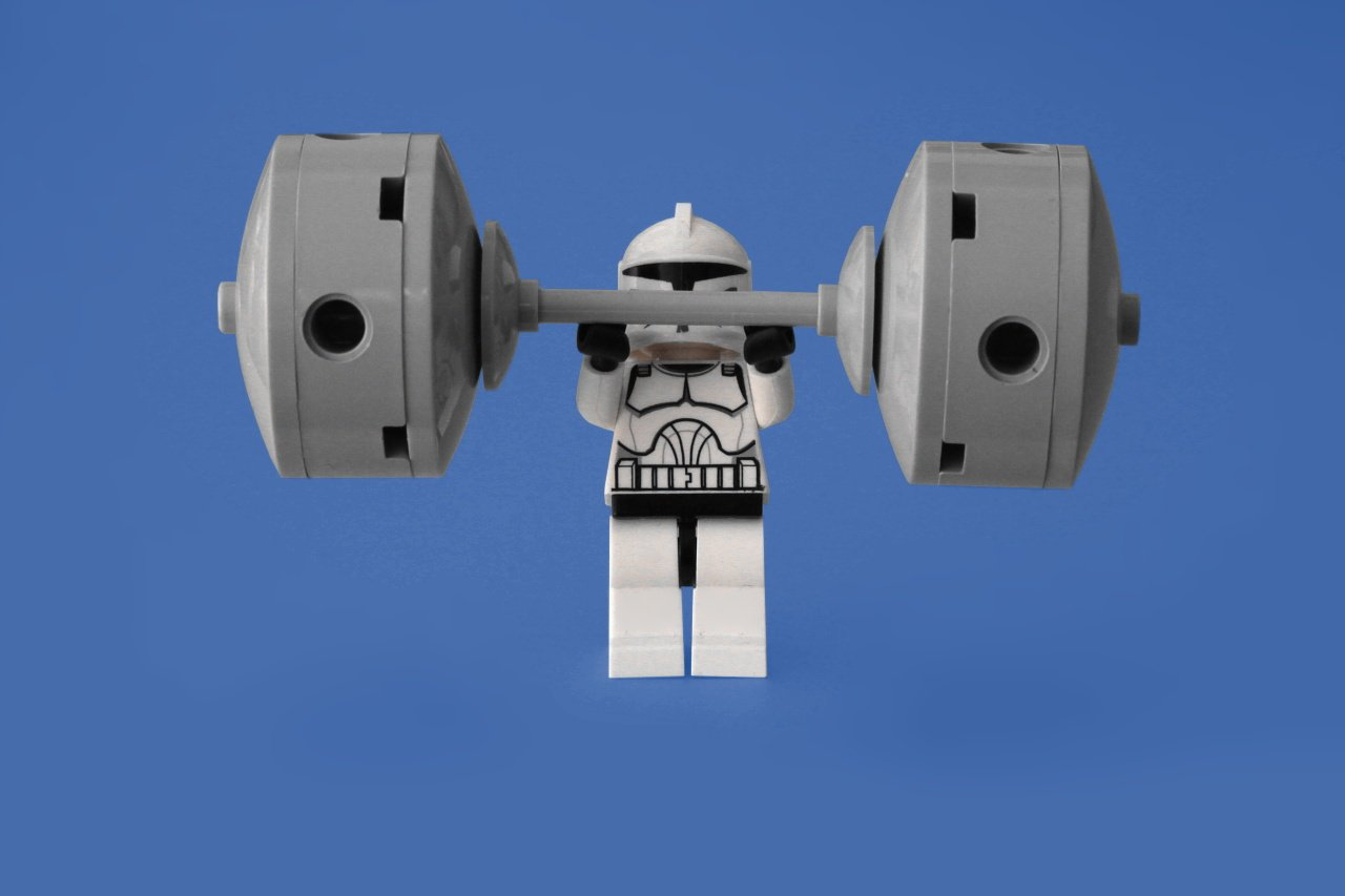 Clearly, this stormtrooper worked up to pressing this much weight.