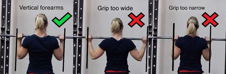 Aim for your forearms to be vertical. This will give you the best set up for the overhead press.