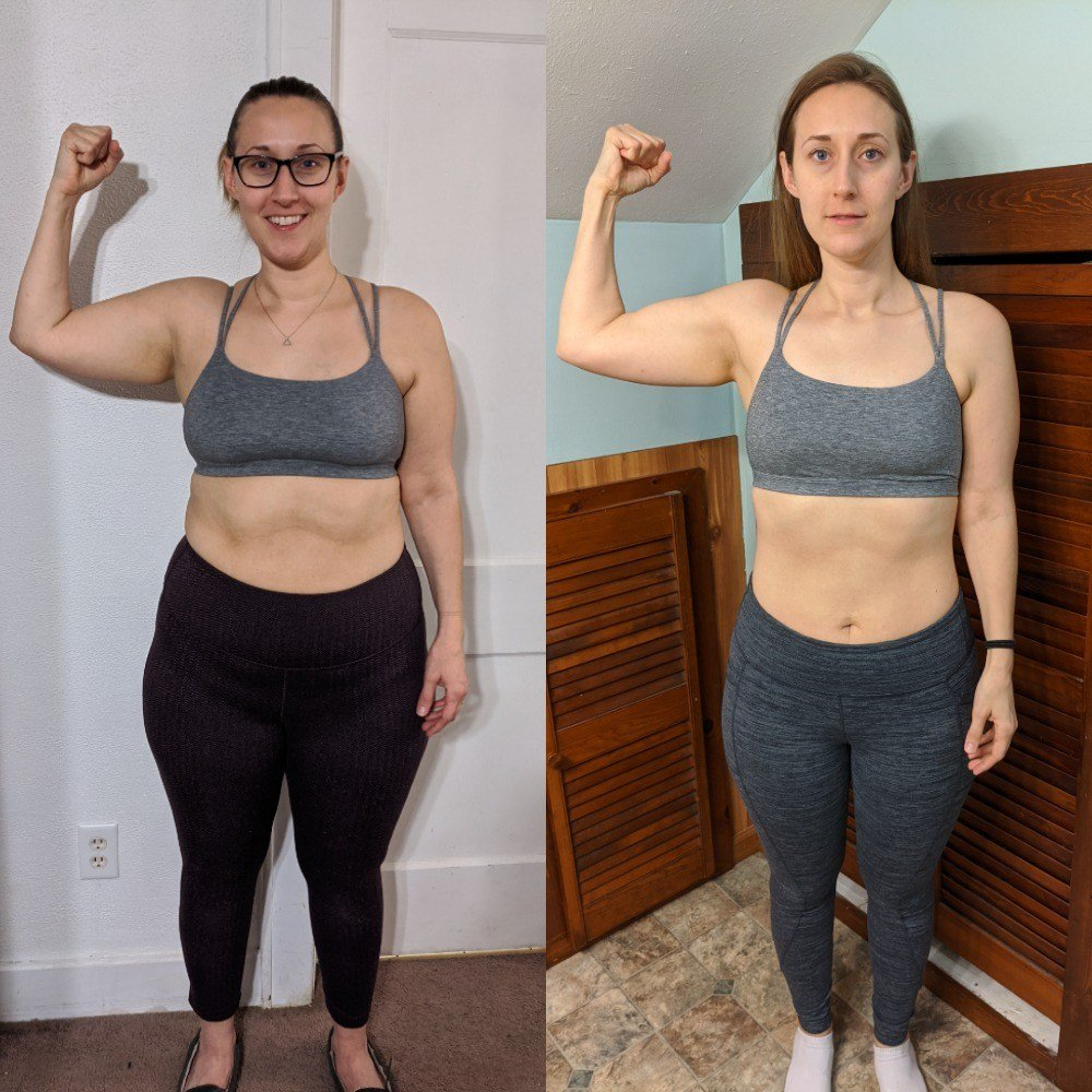 Before and after pictures of Sarah, who lost weight fairly quickly.