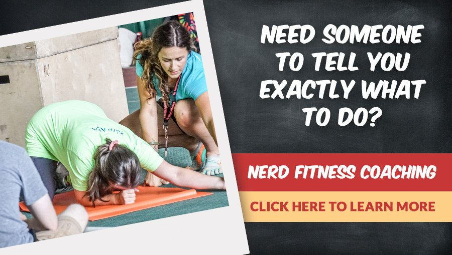 A banner for the Nerd Fitness Coaching program