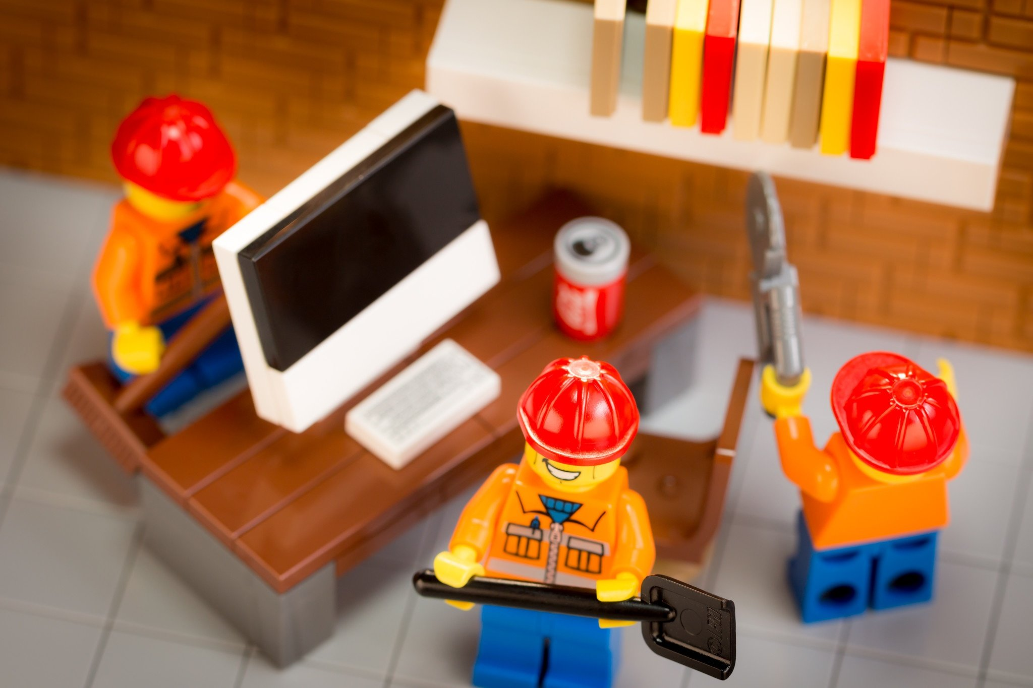 These LEGOs are creating an ergonomic desk.