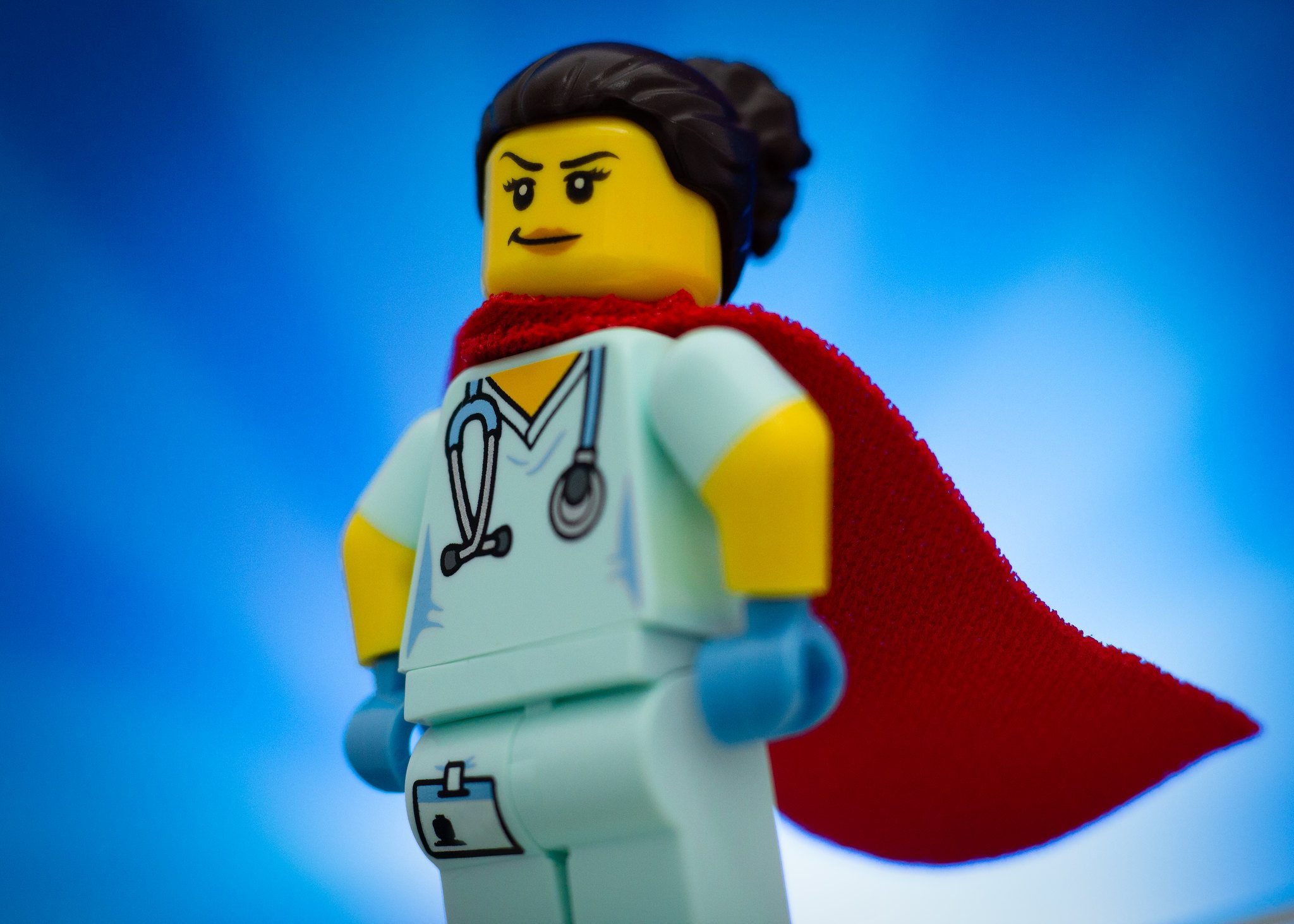A LEGO doctor in a cape, who knows how to treat DOMS.