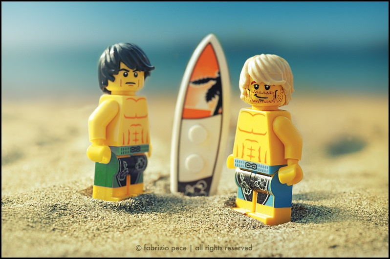 I wonder what these two LEGOs eat? They probably surf off a lot of calories.