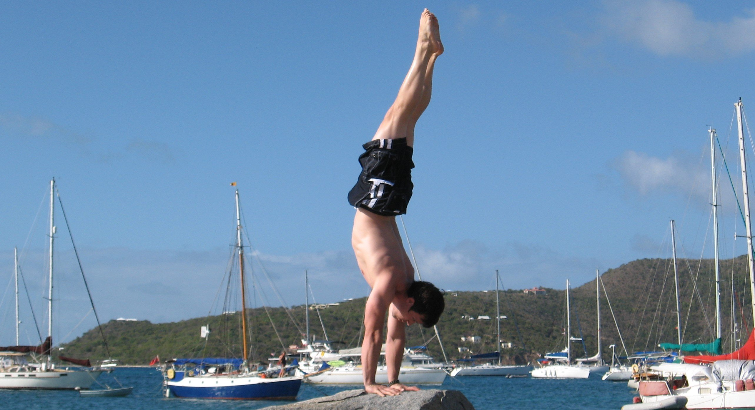 The one and only Jim doing a banana shaped handstand