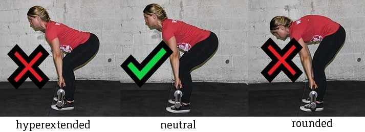 Make sure your back is neutral like above when starting the deadlift.