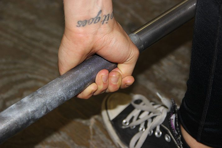 The hook grip shown here is one way you can do the deadlift.