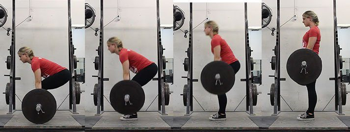 This series of photos shows you the progression of the deadlift pull.