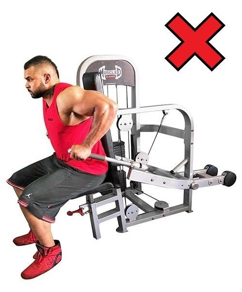 Our advice is to not use machines like this. The bodyweight dip will provide a fuller workout.