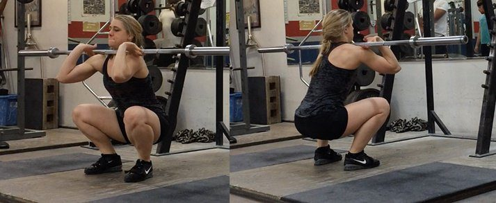 These two photos show a proper front squat.