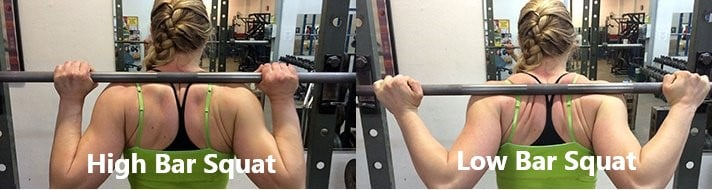 These two photos show the high vs low bar grip for squat
