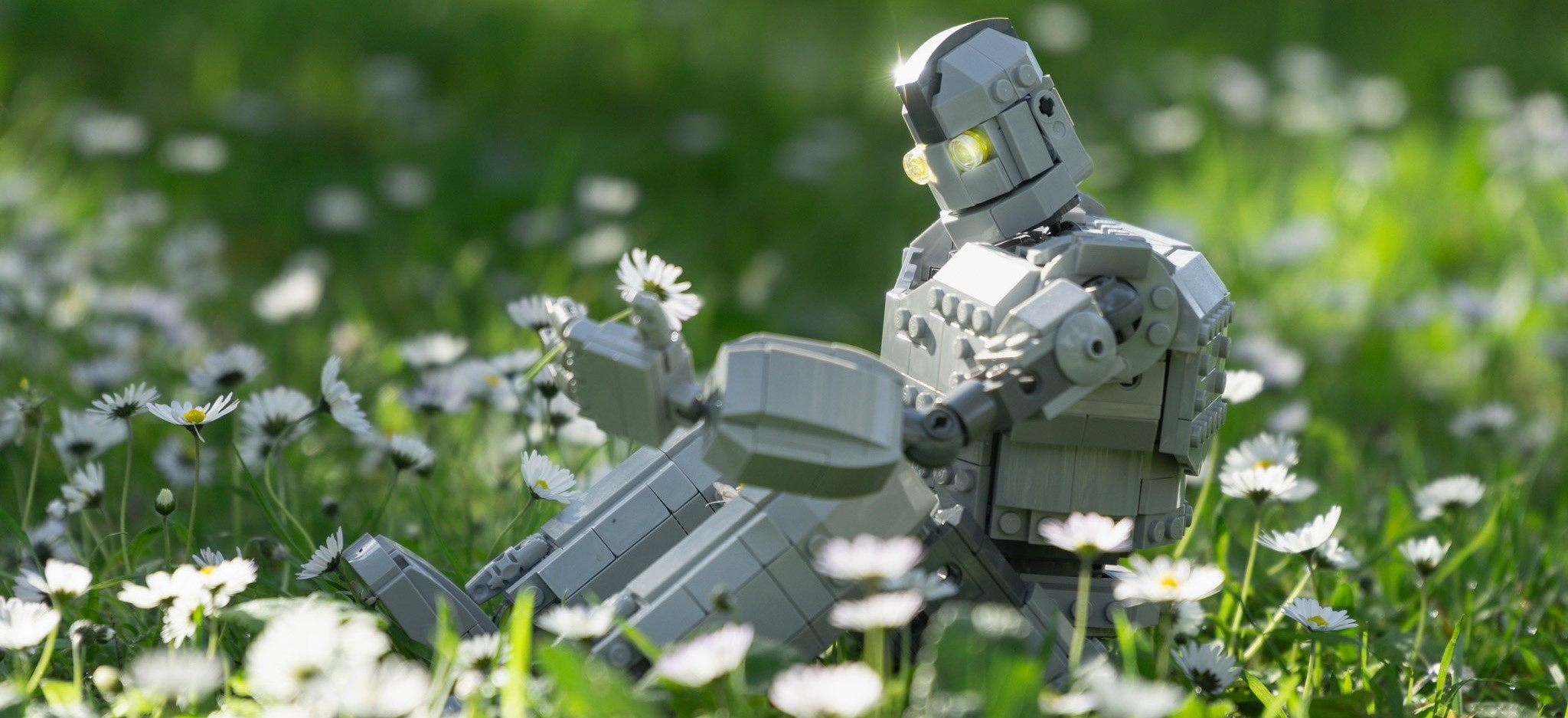 The Iron Giant with a flower