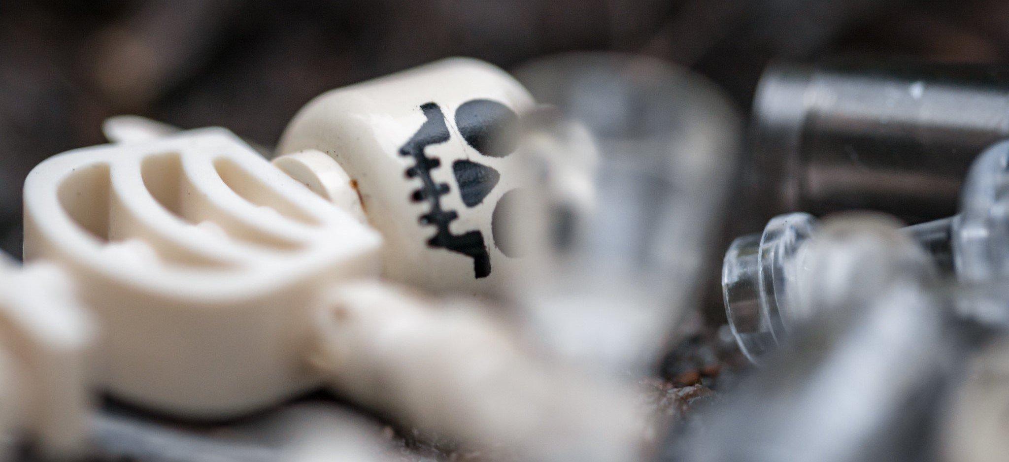 A LEGO skeleton