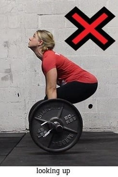 Do NOT look up like this during your deadlift