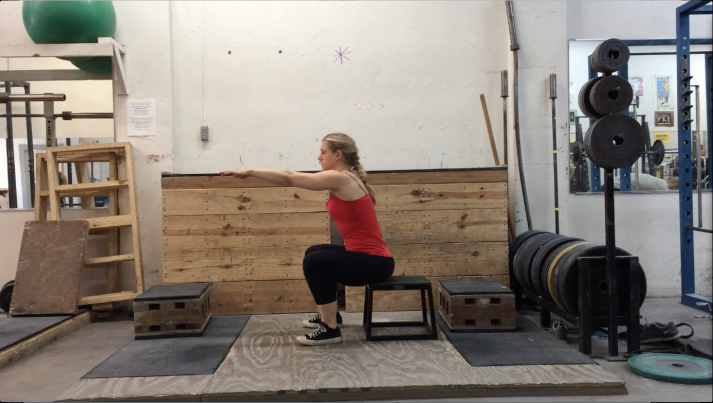 Squatting on a box like so is a great way to start squatting.