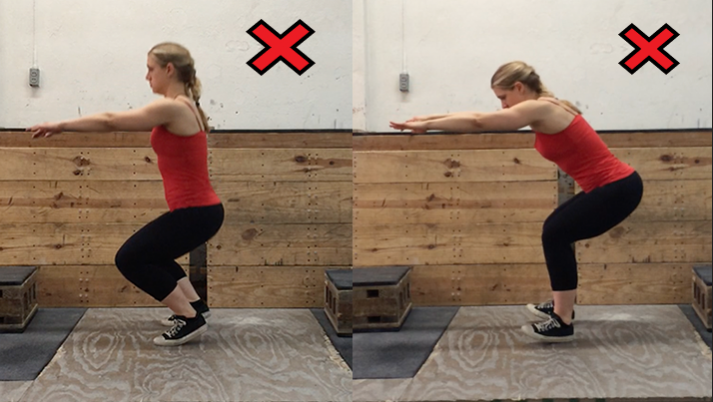 As these two photos shows, keep your feet planted while you are doing your squat.