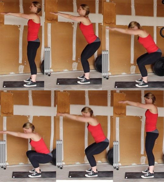 This series of photos shows you how to do a proper squat.