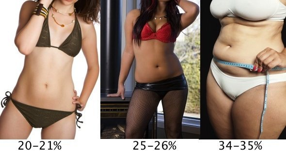 This picture shows different body fat % of women.