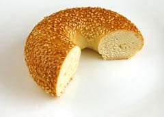 2/3 of a bagel is 200 calories.