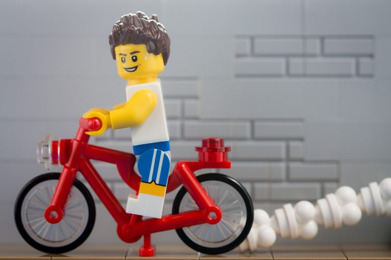 This lego is trying to pedal his way thin!