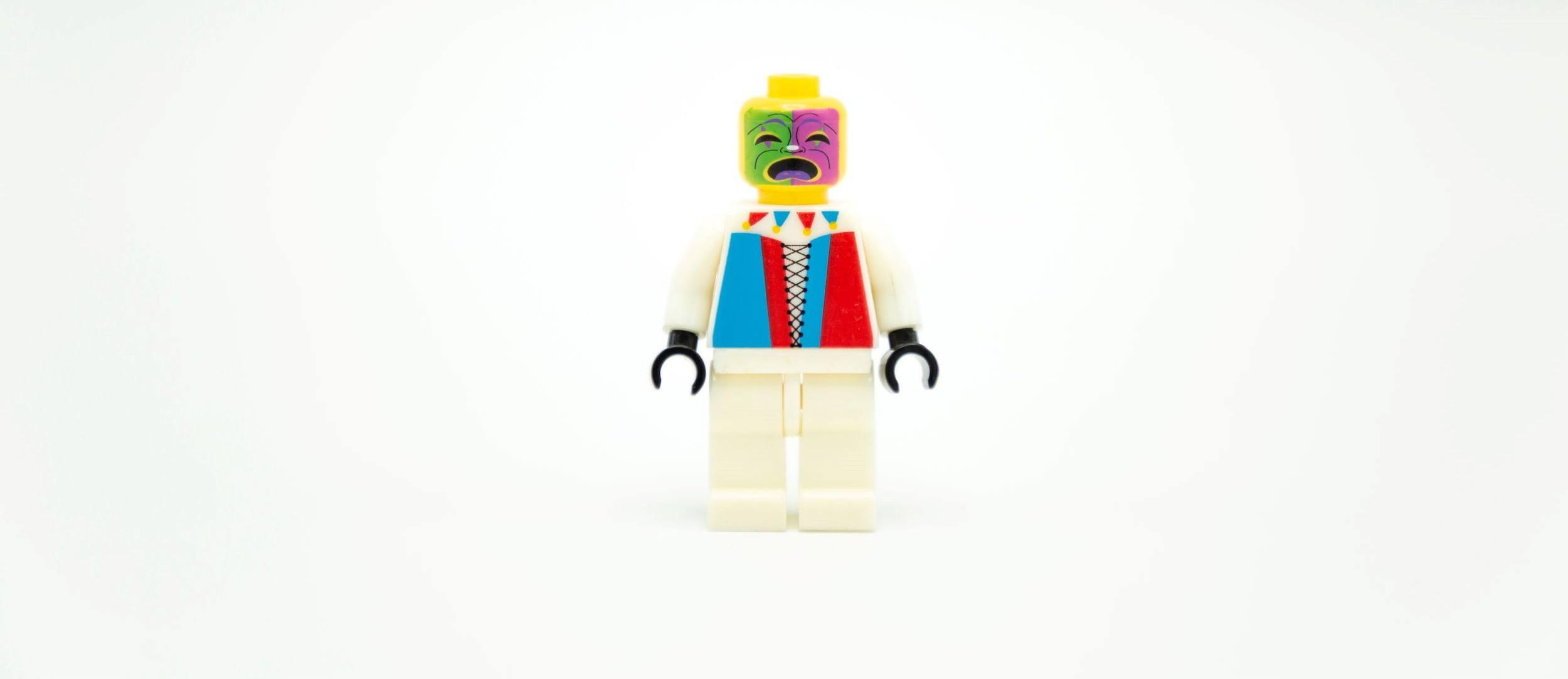 clown lego minifigures toy on white background .