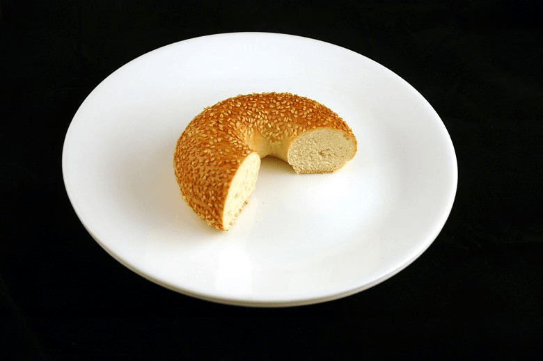This picture shows you 200 calories worth of a bagel, which is about 2/3 of one.